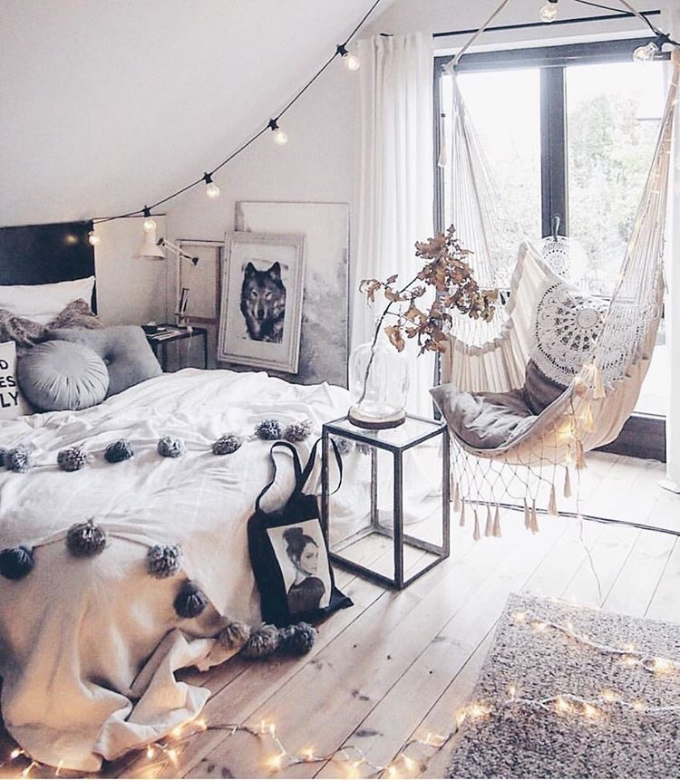 The wood floor and French doors in this bedroom make it feel so ...